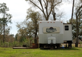 Many Katrina Victims still live in RVs. They are an inexpensive way to have all the luxeries of home.